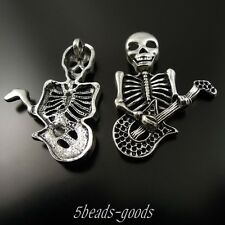37120 Vintage Style Silver Scary Skull Playing Guitar Charms Pendant 9PCs