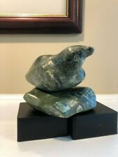 Qiatsuq Ragee Green Bird of Prey Cape Dorset Inuit Art Carving