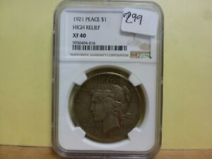 1921 Peace Silver Dollar High Relief NGC XF-45