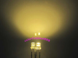 100pcs, 3mm Warm White Flat Top LED 10000mcd Wide Angle Lamp Super Bright Leds
