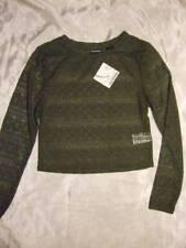 NWT ~ JOE BOXER olive green long sleeve lace crop top ~ juniors L
