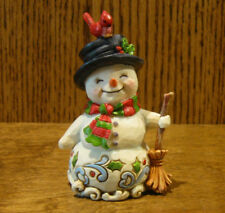 Jim Shore Heartwood Creek Minis #6001496 SNOWMAN HOLDING BROOM From Retail Store