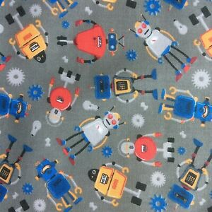 NEW! PolyCotton Fabric Kids Children Boys Robot Grey Reduced Price Material