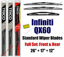 Wiper Blades 3-Pack Front Rear fit 2014+ Infiniti QX60 - 30260/170/12J