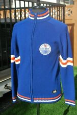 NHL EDMONTON OILERS VINTAGE SWEATER ZIPPERED SEWN ON PATCH EUC PREOWNED