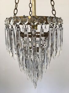 Antique French Crystal Brass Tier Light Ceiling Pendant Chandelier Glass (QP171)