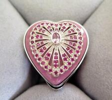 Halcyon Days Pink Sapphire Enamel Sterling Silver Trinket Box - Faberge Inspired