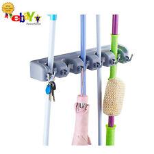 Mop & Broom Holder For Home & Garage w/ 6 Storage Hooks, Wall Mounted Organizer