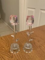 """Vintage 6"""" Inch One Stem Colorful Glass Roses on base  x 2"""