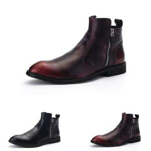 Men Boots Chelsea Shoes High Top Chic Retro Ankle Business Zip Formal Round Toe