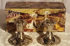"NEW Godinger Baroque 2 Candlesticks Silverplate 4"" Table Top NEW IN BOX"
