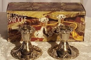 """NEW Godinger Baroque 2 Candlesticks Silver Plated 4"""" Table Top NEW IN BOX"""