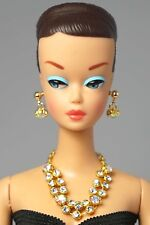 Barbie Doll Vintage Handmade Clear Stone Necklace Earrings Jewelry Set NE102137