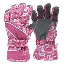 Kids Children Gloves Ski Snow Mittens Snowboard Boys Girls Warm Winter Pink NWT