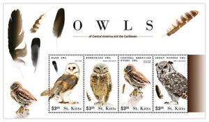 SAINT KITTS 2015 - OWLS  SHEET OF 4 STAMPS MNH