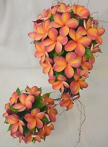 Artificial silk wedding bouquet latex tropical frangipani teardrop flowers set