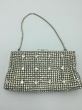 Vintage WALBORG Rhinestone Purse Evening Bag Handbag Silver Satin West Germany