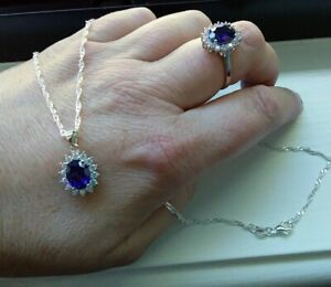 JewelryPalace blue sapphire & created cz halo pendant + matching ring size 8