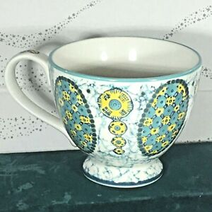 Anthropologie Footed Mug  Green Blue Yellow design Ceramic NEW condition