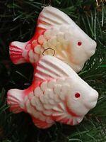 Very Old Soviet Styrofoam Christmas Ornament, Tree decoration - FISH, 1970s USSR