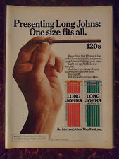 1976 Print Ad Long Johns 120s Cigarettes ~ One Size Fits All