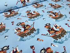 Stoffrest 11x150cm Baumwolle Jersey Piraten Piratenschiff hell blau braun bunt