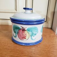 RARE*VIETRI BUON GIORNO CANISTER CROCK JAR W/LID~APPLE/FRUIT HAND PAINTED~ITALY
