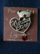Spoontiques Pin Art - Nurse's Care Pin - Nurses Hat Heart and Gem - 04190