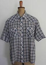 VINTAGE ~ 70's Blue Plaid Short Sleeve Rockabilly Shirt w Snaps ~ XL 16 - 18