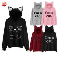 "Women Winter ""I'm a Cat"" Print Hoodie Sweatshirt Long Sleeve Pullover Top Blouse"