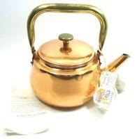 VINTAGE 1970s OLD DUTCH INTERNATIONAL LTD COPPER BRASS TEA KETTLE MADE IN TAIWAN