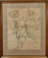 NUDES OF A WOMAN. GRAPHITE DRAWING ON PAPER. JAIME MARTRUS RIERA. XXTH CENTURY.