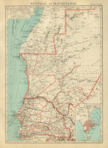 FRENCH WEST AFRICA. Senegal & Mauritanie/Mauritania. Dakar plan 1931 old map