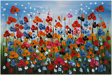 Colorful Dancing Poppies - Hand Painted Abstract Flower Oil Painting On Canvas