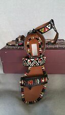 NIB VALENTINO Studded Hand Painted Strappy Thong Sandals  37.5 7.5 Tribal Stones