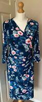 Joe Browns 14 Floral Teal Easycare Dress Long Sleeves