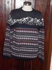 BURTON NAVY BLUE CREAM & RED NORDIC FAIRISLE MOUNTAIN PRINT JUMPER SIZE MEDIUM