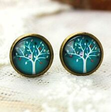 Flora Wishing Tree Earring Studs Bronze Vintage Retro Earring Glass Gem Jewelry♫