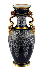 Large Superb Ginori Porcelain Vase w/ Applied Lace Pattern on Cobalt Glaze