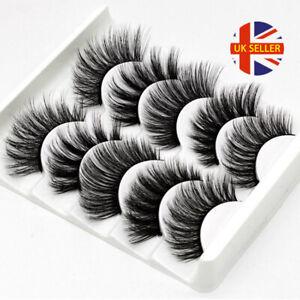 5 Pair 3D Mink False Eyelashes Wispy Cross Long Thick Soft Fake Eye Lashes  UK