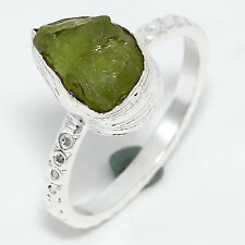 92.5 Sterling Silver Natural Peridot Rough Stone Ring US-6.75 D-721