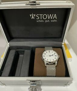 Stowa Marine Classic 40mm Automatic Watch Stainless Strap White Dial Arabic Date