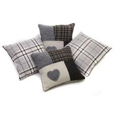"Set of 4 Grey Tartan & Tartan Patchwork Heart 18"" / 45 cm Cushion Covers"