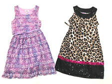 Lot 2 Justice Sequin Girl Dresses Size 7 Animal Print Lace Sleeveless