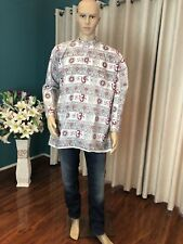 "42"" L Cotton Indian Casual Shirt Kurta Bollywood Mens Ethnic Om Top White A4"