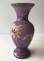 Fenton Glass Vase Violet Overlay Handpainted  Daisy's  Signed P.Lauderman