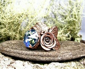 Organic  Solid Copper Rose Ring--Vintage Crystal Crystal Stone-Size  8