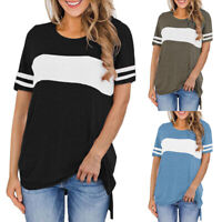 Womens Short Sleeve T-Shirt Crew Neck Stripe Casual Loose Basic Tunic Top Blouse