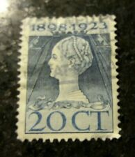 USED STAMP OF NETHERLANDS 1923 SILVER JUBILEE 20ct blue CIRCULAR DATE STAMP.