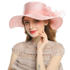Vintage Women's Derby Church Cloche Sun Hat Bow Wedding Bowler Large Brim Hats